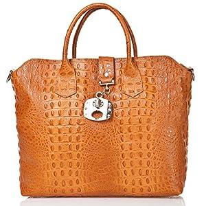 italienische Damen Handtasche Dallas aus echtem Leder in orange braun, Made in Italy, Shopper Bag 39x30 cm