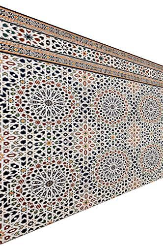 Marokkanische Fliesen Wandfliesen bunt 2 Stk Muster 3 | Orientalische Fliese als Wanddekoration im Bad oder Küchenrückwand | Bunte Mosaikfliesen Design als Deko für die Wand im Badezimmer Küche