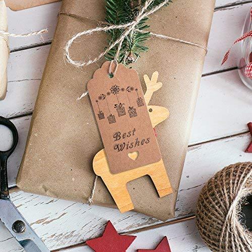 Kuuqa 100PCS Geschenk-Tag Kraftpapier-Geschenk-Umbauten Eine Unbelegte Seite für Danksagungs-Feiertags-Geburtstags-Hochzeits-Geschenke 20m / 67 Füße Natürliche Jute-Schnur - 4