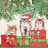 Ambiente Papierservietten - Servietten Lunch / Party / ca. 33x33cm Three Cats - Weihnachten - Katzen - Ideal Als Geschenk Und Tisch-Deko