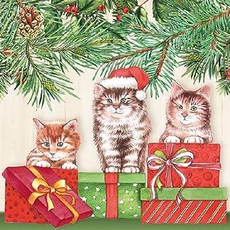 ambiente Servilletas de papel–Servilletas Almuerzo/Fiesta/aprox. 33x 33cm–Three Cats de Navidad–Gatos–Ideal como regalo y mesa de decoración