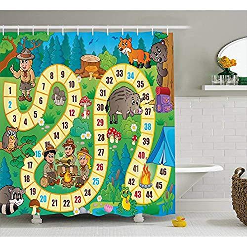 Yeuss Brettspiel Duschvorhang von Camping Jungen und Mädchen in der Natur Waldtiere Bäume Pilze Gänseblümchen Spaß Freude, Stoff Badezimmer Dekor Set mit Haken, Multicolor 72 'x 72'