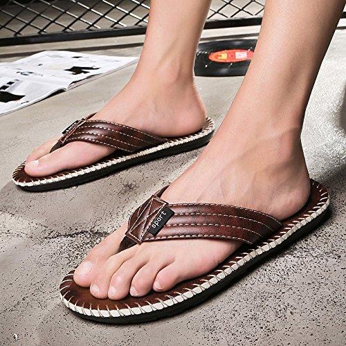H&W Herren Sport Outdoor Leder Flip Flops mit Gummi Soles Braun