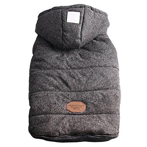 Hund Winter Weste Mit Kapuze Sweatshirts Puffer Hund Mantel Welpen Kleine Pet Warme Kleidung (Grau, L) (Winter Mantel Für Shih Tzu)