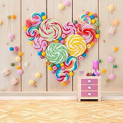 Bonbons Candy Heart Papier peint Nourriture boisson Papier peint photo Cuisine pour enfants Décoration de maison Disponible en 8 tailles Gigantesque Numérique
