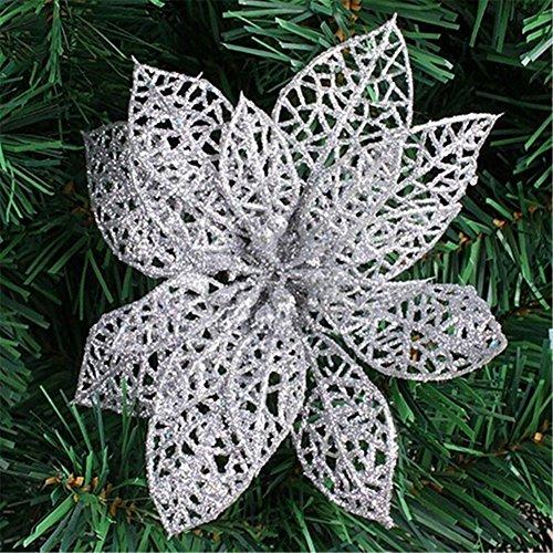 Meizu88, 10 fiori stella di natale finti in plastica, con petali vuoti, decorazioni per matrimonio, albero di natale, festa, plastica, silver, 15 cm