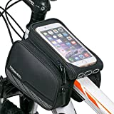 Supporto telefonico per Pannier con telaio in bicicletta WOTOW, 3 in 1 Supporto telefonico a due tasche frontali impermeabili in tubo anteriore per telefono cellulare da 5,7 pollici