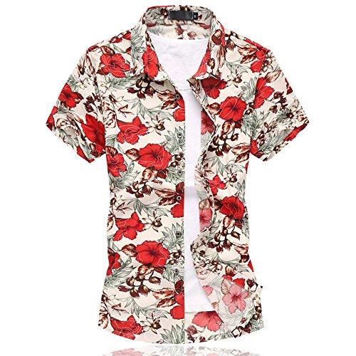 Cloud Style-tee-shirt casual-tee-hawaiian shirt-shirt été-imprimé- Manches courts- Homme 661rouge