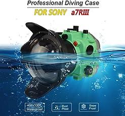 Sea frogs Unterwasser Kamera Gehäuse für Sony A7R III mit Fisheye-Objektiv (16-35 mm) und elektronische Griff 130 FT/40 m Wasserdichtes Gehäuse Fall Grün