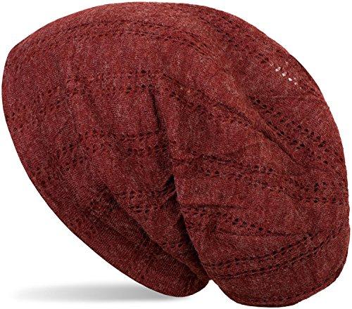 styleBREAKER Beanie Mütze mit Lochstrick Muster, Vintage Slouch Longbeanie, Unisex 04024095, Farbe:Bordeaux-Rot