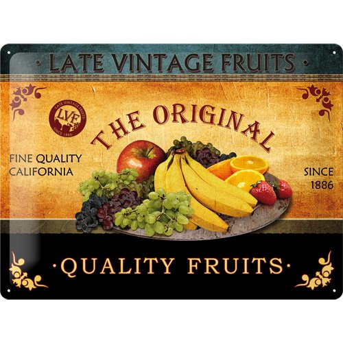 Nostalgic-Art 20362 Late Vintage Quality Fruits, Blechschild, 30 x 40 cm