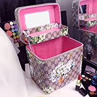 The new large capacity makeup bag retro printing portable cosmetic box double layer portable cosmetic skin care products,Gray double deck