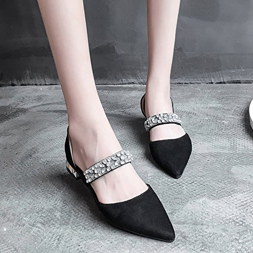 RUGAI-UE Estate Donna Sandali con tacco basso appuntita scarpe sexy Moda Donna Scarpe Black