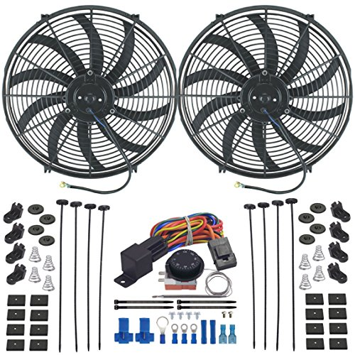 American V Dual 16Zoll Heizstrahler fan-s verstellbar Thermostat Lüfter Controller Kit