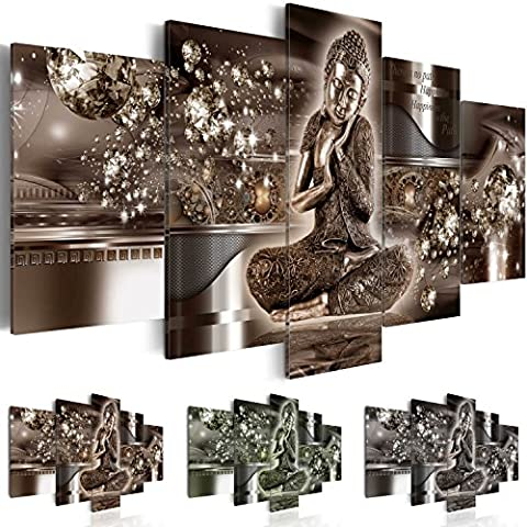 Image 200x100 cm (78,8 by 39,4 in) - 3 colours to choose - Image printed on canvas - wall art print - Picture - Photo - 5 pieces- Buddha h-A-0053-b-n 200x100 cm