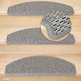 Kettelservice-Metzker® Stufenmatten Göteborg Halbrund - 4 Farben 15 Stück (Grau) incl. Fleckentferner