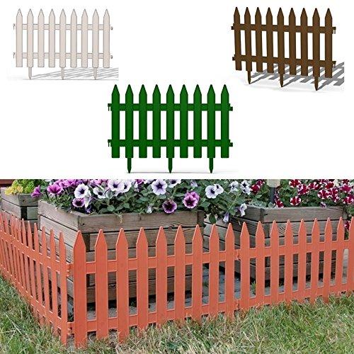 Gartenzaun Zaun Zierzaun Friesenzaun Lattenzaun 2,5m Beeteinfassung weiß braun grün 3 Farben wählbar (Grün) von rg-vertrieb