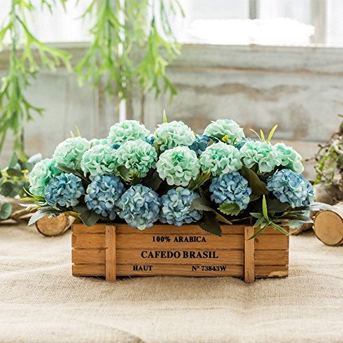 Flinfeays fiori artificiali fake flowers creative wooden fences diy holiday gifts gifts wedding party kitchen window sill home decoration wooden pot flower arrangement potted blue-22
