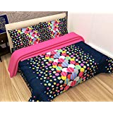Paramorasi Super 3D Printed Polycotton 140 TC Double Bed Sheet With 2 Pillow Cover And 1 Pc Digital Print Cushion Cover, Size (88X90) Inches