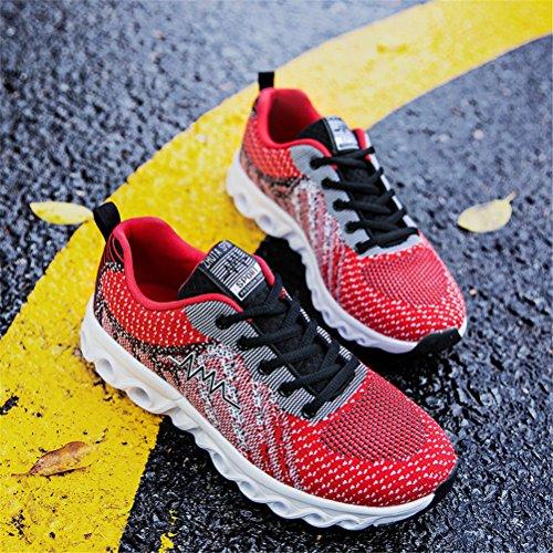 Super Lee Herren Laufschuhe Sneaker Ultraleichte Sportschuhe Atmungsaktiv Gym Schuhe Fitness Hallenschuhe Indoor/Outdoor Rot