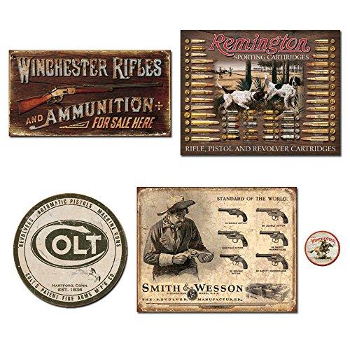De Schild Vintage Metall Schilder Gun Bundle-Winchester Gewehre & Munition, Remington Bullet Board, Colt Rund Logo, Smith und Wesson Revolver Hersteller. Plus Winchester Logo Magnet.