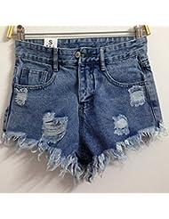 YFF Trou cassé taille haute short en jean femme pantalon jambe largeur lâche tassle,S,Light blue