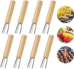 Apical Life Mais-Gabel, 8PCS Mais-Halter-Frucht-Gabeln Maiskolben-Spieße Nahrungsmittelzinken-Spieße Werkzeuge 304 Edelstahl-u. Gummi-Holz-Griffe für BBQ-Grill