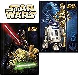 2 Stück - Star Wars - Gummizugmappe DIN A4 - Motiv: Yoda, Darth Vader, C-3PO, R2-D2 - Eckspanner, Ordner, Schule