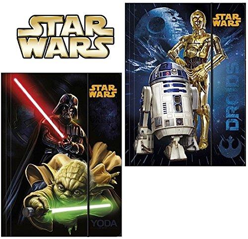 2 Stück - Star Wars - Gummizugmappe DIN A4 - Motiv: Yoda, Darth Vader, C-3PO, R2-D2 - Eckspanner, Ordner, Schule (2 Stück Zwei Stück Kostüme)