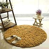 CAMAL Teppich, Runde Seide Wolle Material Yoga Teppich für Wohnzimmer Schlafzimmer und Bad (200cm, Khaki)