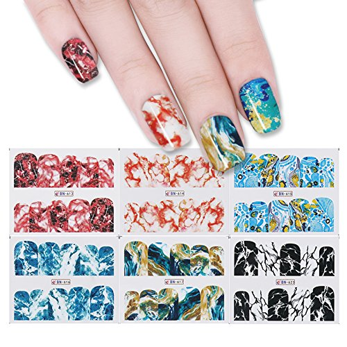 NICOLE DIARY 12 Muster 1 großes Blatt Wasser Aufkleber Marmor Korn bunte Maniküre Nail Art Transfer Aufkleber