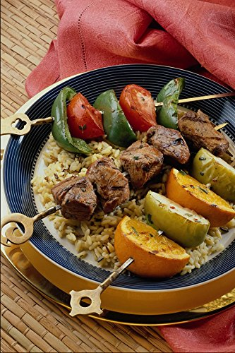 587089 Vegetable Beef And Fruit Kabobs Over Rice A4 Photo Poster Print 10x8