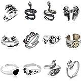 ADICOM 12 Stück Vintage Punk Rings Set, Cute Animal Open Ring Pack, versilberte gotische stapelbare Ringe für Frauen Männer M