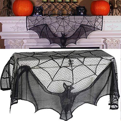 SONGHJ Halloween Spider Lace Tischdecke Creative Black Spider Rechteck Tischfahne Kamin dunkel Tischabdeckung Decor A 93x57cm -
