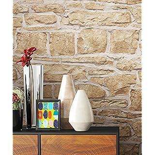 NEWROOM Steintapete Tapete Beige Mauer Stein Modern Papiertapete Papier  Moderne Design 3D Optik Steintapete Ziegelstein Backstein