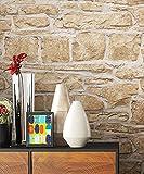 NEWROOM Papier peint brique beige toison Motif brique/cailloux brique