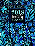Weekly Planner: Blue Watercolor Modern Florals: Large Format Weekly Organizer