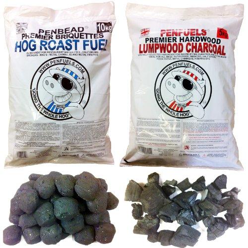 PENBEAD Premier Charcoal BBQ Briquettes 10kg Plus Hardwood Lumpwood Charcoal 5kg