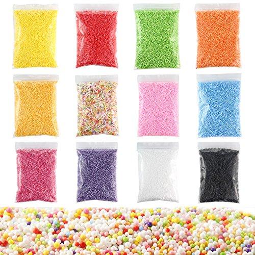 Bälle für Schlamm 7-9mm Haushalt Schule Kunst Handwerk Lieferungen Passt für Stick Zu Slime Assorted Kleine Schaum Bälle für Kinder Erwachsene, 12 Packungen ()