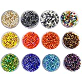 [Sponsored]eshoppee 240 Gm Glass Beads / Seed Beads Size 3mm (8/0) For Jewelery Making Set Of 12 Colours , 20Gm X 12 Art And Craft Diy Kit (family Colors)
