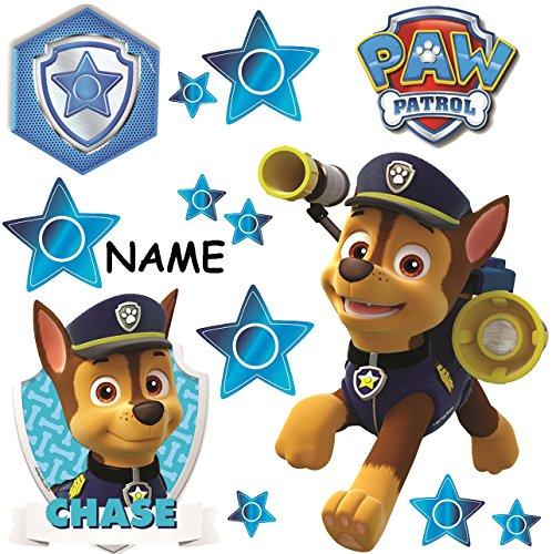 alles-meine.de GmbH große _ Wandsticker -  Paw Patrol - Polizei Hund Chase  - incl. Name - selbstklebend + wiederverwendbar + wasserfest - Aufkleber für Kinderzimmer - Wandtatt..