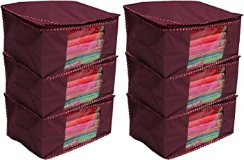 Kuber Industries™ Non woven Saree cover/ Saree Bag/ Storage bag Set of 6 Pcs (Maroon) 9 Inches Height