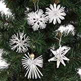THO Weihnachts Strohanhaenger 27 teilig Weiss/Silber