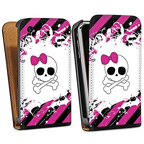 Apple iPhone 5s Housse Étui Protection Coque Princesse punk rock Rose vif Tête de mort Sac Downflip noir