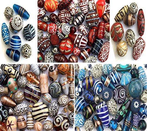 3 x Packs von handgefertigtem Glas Holz & Silber tibetischen Indian zur Schmuckherstellung in Rot, Blau und Creme