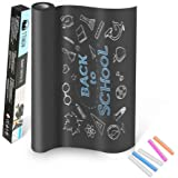 TTMOW Vinilo Lámina de Pizarra Negra Flexible Adhesivo Removible para Escribir y Borrar (Incluye 5 tizas), 60 x 200 cm, Color