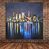 IPLST@ Landschaft New York City Nacht Ölgemälde Leinwand Kunst Große Wand Wandbild Messer Malerei Dekoration -24x24inch (kein Rahmen, ohne Bahre)