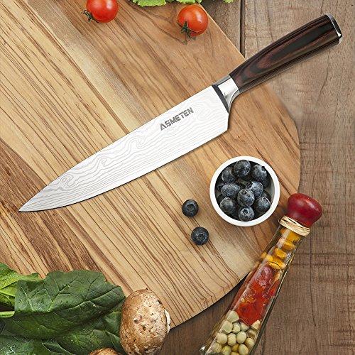 Asmeten Cuchillo Cocina,  Cuchillo Profesional de Cocinero 20cm,  Acero Inoxidable de Alemania con Mango Ergonómico para Cocina y Restaurante,  Color Negro