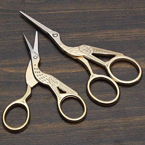 mark8shop-golden-stainless-steel-crane-shape-cross-stitch-scissor-household-diy-sewing-craft-tool