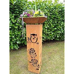 "Gartendeko Fockbek Deko Säule""Eule Rosen Spruch"" inkl. Schale ca. 115 cm Rost Säulen Blumen Pflanzen"